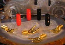 ♫ 2 PAIRES FOURCHES 6/8 mm  GOLD CÂBLES 4 mm² AMPLI HIFI HOME CINÉMA ♫