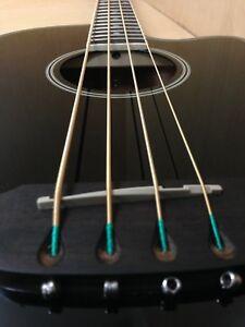 3/4 Size Haze FB-711BCEQ/BK 4-String Electric-Acoustic Bass Guitar,EQ,Black+Bag