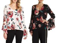 NWT Womens Size Small XL Nordstrom 1. State Floral Print Cascade Sleeve Blouse
