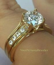 14k yellow gold 2 Piec jacket guard round Engagement Wedding Ring insert Band S7