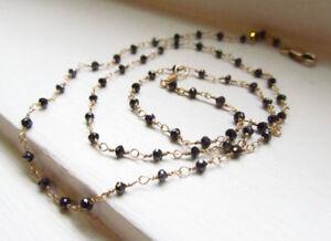 Black Diamond Necklace Rosary Style Genuine Raw Diamond 4mm stone 18 inches AAA