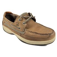 Sperry Top-Sider Tan Leather Lanyard 0777924 Men's US 9W 2-Eye Boat Shoes