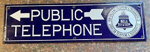 original porcelain telephone sign