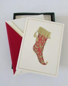 William Arthur Red & Gold Foil Stocking Christmas Cards Set 9 NIB