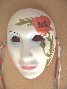 Red flower mask or wall hanging, porcelain or ceramic material ribbons