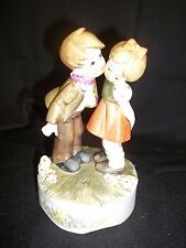 vintage Berman and Anderson Porcelain Boy & Girl Figurine Music Box