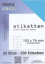 200 Etiketten 105x74 mm = 25 Blatt blau selbstklebend PRIPA Aufkleber aus Papier