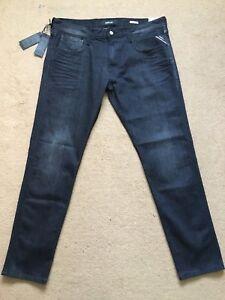 "REPLAY ANBASS Men's Slim Fit Power Stretch Denim Black Jeans, W36""/L32"", £145."