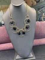"Ladies Statement Necklace Black Gold  18"" Chain Bib Dangle Circles"