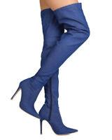 New Women Cape Robbin Mini-5 Denim Thigh High Pointy Toe Stiletto Boot