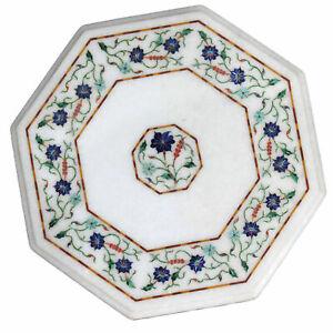 "15"" Marble Table Top Semi Precious Stones Inlay Home /office Decor"
