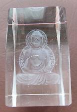 3D Laser Kristall Glas - mit einen meditentierenden Buddha - Thaibuddha