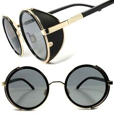 Black Gold Vintage Retro Steampunk Gothic Side Shield Hipster Round Sunglasses