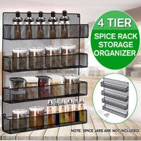 4 Tiers Metal Kitchen Storage Shelf Spice Rack Wall Mounted Organizer Holder