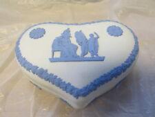 Wedgwood England Blue On White Jasper Dip Classical Heart Box 5 1/4� V Good Cond