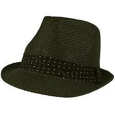 Men's Summer Fedora Trilby Retro Pleated Hatbband Beach Sun Hat Black 59cm M/L