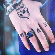 Men's Ring Finger Stainless Steel Nordic Viking blue red colour Zircon High