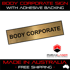 BODY CORPORATE - GOLD SIGN - LABEL - PLAQUE w/ Adhesive 80mm x 20mm (8CM x 2CM)
