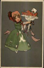 Art Deco - Little Girl Green Dress Bonnet & Bouquet of Flowers 1051/3 Postcard