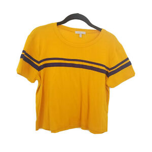 charlotte russe yellow striped cropped tee womens medium gold blue short sleeve