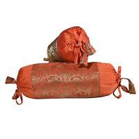 Orange Color Peacock Design Brocade Silk Bolster Bedding Pillow Case Cover Bed