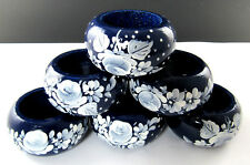 New listing Set Of 6 Wooden Hand Painted Napkin Rings (2 Set Available ) (E45)