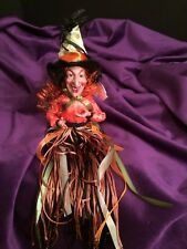 """NEW ORANGE HALLOWEEN 12"""" TASSEL WITCH HANGING = 12"""" SITTING = 6"""" WITH TAGS"""