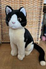 Stofftier Katze, Förster,schwarz/altweiß,sitzend 30 cm , NEU !!!