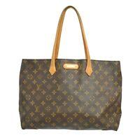 Louis Vuitton Wilshire MM M45644 Monogram Shoulder Tote Satchel Hand Bag Purse