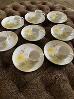 8 Vintage Floral China Luncheon Tea Tennis Hostess Snack Plate Cup Dutch Iris