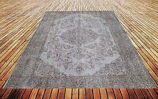"""8' 10"""" x 5'10""""    Vintage destressed light gray color reform Overdyed rug carpet"""