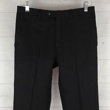 Michael Kors Wool Blend Womens 30 in. Solid Black Mid Rise Straight Capri Pants
