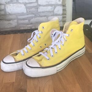 VINTAGE CONVERSE ALL STAR CHUCK TAYLOR HI -TOPS YELLOW SIZE 10 MADE IN USA