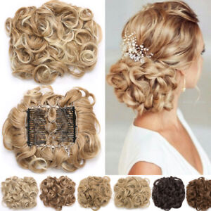 MEGA LARGE THICK Curly Chignon Messy Bun Updo Clip in Hair Piece Extensions TE6