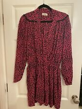 Zadig Voltaire Leo Bright Pink Leopard Dress Size L - Used