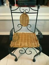 """Doll Chair Black Iron with """"Patina"""" Wicker Seat Garden 16""""x 8""""x 7"""" Well Made"""