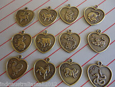 12 x Chinese  Zodiac  Symbols &  Boy Girl Bronze  Pendants Bulk Lot(FS-P34)