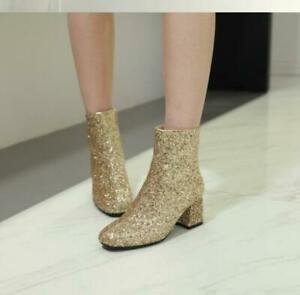 Women's Biker Motorcycle Ankle Shoes Sequins Glitter Square Toe Mid Heel Boots