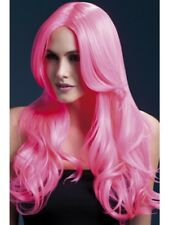 Neon Pink Fever Khloe Wig, 26inch/66cm Adult Womens Smiffys Fancy Dress Costume