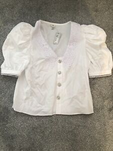 River Island Embellished Button Up White Shirt With Collar, Size 10