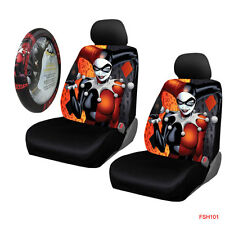 New Harley Quinn laughs Car Truck 2 Front Seat Covers & Steering Wheel Cover Set