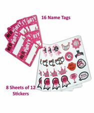 Miss Behave Hen Party Bride to be Night 8 Sticker Sheets & 16 Name Labels Set