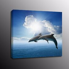 Home Decor Jumping Dolphin Canvas Prints Wall Art Oil Painting Picture