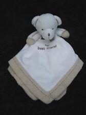 Carters My Best Friend Bear Cream Beige Satin Rattle Lovey Security Blanket