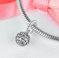 2020 Valentines New  925 Sterling Silver Pave Ball Pendant Charm