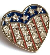 Silver American Flag Pin Brooch Crystal Enamel Heart Plated July 4th USA Seller