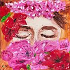 """Painting Of Floral Woman Original Impasto Oil Painting 10"""" a Woman Wall Art"""