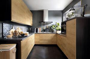 Küche, Schränke, Küchenzeile erweiterbar Eiche Arlington Griffleisten Neu