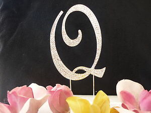 "Large Rhinestone Crystal Monogram Letter ""Q"" Wedding Cake Topper 5"" inch High"
