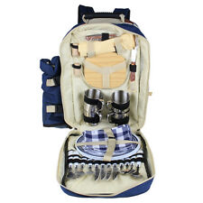 Outdoor Picnic Backpack Camping Lunch Bag Tableware for 4 Four Person